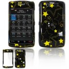 Hard Plastic Design Faceplate Case Cover for Blackberry Storm 2 9550 - Black/Yellow Stars