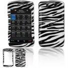 Hard Plastic Rubber Feel Faceplate Case Cover for Blackberry Storm 2 9550 - Black/White Stripes