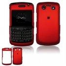 Hard Plastic Rubber Feel Faceplate Case for BlackBerry Bold 2 9700 - Dark/Red