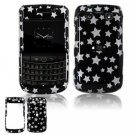 Hard Plastic Shield Protector Faceplate Case for BlackBerry Bold 2 9700 - Black Stars