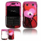 Hard Plastic Shield Protector Faceplate Case for BlackBerry Bold 2 9700 - Red Hearts