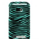 Hard Plastic Design Faceplate Case Cover for HTC Imagio - Turquoise/Black Stripes