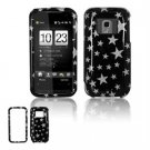 Hard Plastic Design Faceplate Case Cover for HTC Touch Pro 2 (Sprint) - Black Silver Stars