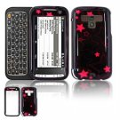 Hard Plastic Design Faceplate Case Cover for HTC Touch Pro 2 (Sprint) - Black/Pink Stars