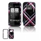 Hard Plastic Design Faceplate Case Cover for HTC Touch Pro 2 (Sprint) - Pink/Black Plaid