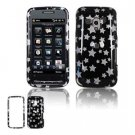 Hard Plastic Design Faceplate Case Cover for HTC Touch Pro 2 (T-Mobile) - Black/Silver Stars