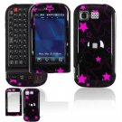 Hard Plastic Design Cover Case for LG Tritan AX840 - Black/Pink Stars