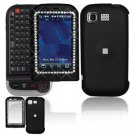 Hard Plastic Rubber Feel Cover Case for LG Tritan AX840 - Black Gem Bling