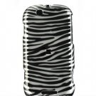 Hard Plastic Design Faceplate Case Cover for Motorola Cliq - Silver Black Zebra