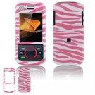 Hard Plastic Design Faceplate Case Cover for Motorola Debut i856 - Pink/White Stripes