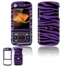 Hard Plastic Design Faceplate Case Cover for Motorola Debut i856 - Purple/Black Stripes