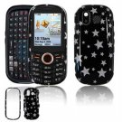Hard Plastic Design Faceplate Case Cover for Samsung Intensity U450 - Black/Silver Stars