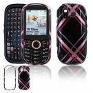 Hard Plastic Design Faceplate Case Cover for Samsung Intensity U450 - Pink/Black