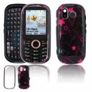 Hard Plastic Design Faceplate Case Cover for Samsung Intensity U450 - Pink/Black-Stars