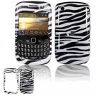 Hard Plastic Design Cover Case for BlackBerry Curve 8520 (T-Mobile) - Black/White Stripes
