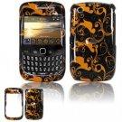 Hard Plastic Design Cover Case for BlackBerry Curve 8520 (T-Mobile) - Gold/Black Floral