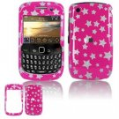Hard Plastic Design Cover Case for BlackBerry Curve 8520 (T-Mobile) - Pink/Silver Stars