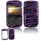 Hard Plastic Design Cover Case for BlackBerry Curve 8520 (T-Mobile) - Purple/Black Stripes