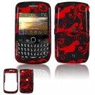 Hard Plastic Design Cover Case for BlackBerry Curve 8520 (T-Mobile) - Red/Black Floral