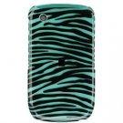 Hard Plastic Design Cover Case for BlackBerry Curve 8520 (T-Mobile) - Turquoise/Black Stripes