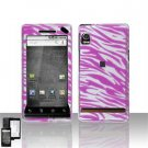 Hard Plastic Design Faceplate Case Cover for Motorola Droid - Pink/Silver Stripes
