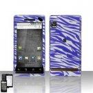 Hard Plastic Design Faceplate Case Cover for Motorola Droid - Purple/Silver Stripes
