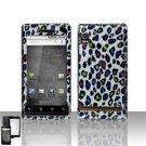 Hard Plastic Design Faceplate Case Cover for Motorola Droid - Rainbow Leopard
