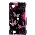Hard Plastic Design Faceplate Case Cover for LG Chocolate Touch - Black/Pink Butterflies