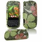 Hard Plastic Design Gem Bling Case for Palm Pixi - Green Flowers