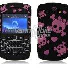 Black/Pink Skulls Design Hard Faceplate Case for BlackBerry Bold 9700