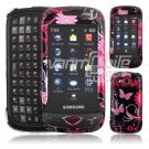 Pink Butterfly Design Hard 2-Pc Snap On Faceplate Case for Samsung Reality (Verizon Wireless)