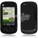 Black Hard Rubber Gel Skin Case for Motorola Cliq XT (T-Mobile)