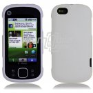 "White Hard 2-Pc ""Rubberized"" Snap On Faceplate Case for Motorola Cliq XT (T-Mobile)"