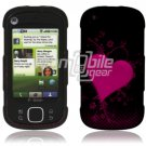Pink/Black Heart Design Hard 2-Pc Snap On Faceplate Case for Motorola Cliq XT (T-Mobile)