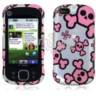 Silver/Pink Skulls Design Hard 2-Pc Snap On Faceplate Case for Motorola Cliq XT (T-Mobile)