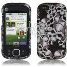 Black Skulls Design Hard 2-Pc Snap On Faceplate Case for Motorola Cliq XT (T-Mobile)