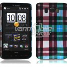 "Blue Plaid Design Hard 1-Pc ""Back/Rear"" Case for HTC HD2 (T-Mobile)"