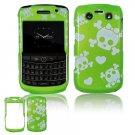 Green/White Skulls Design Hard Faceplate Case for BlackBerry Bold 9700