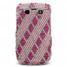 "Pink ""Diamonds Are Forever"" Hard Gem Bling Faceplate Case for BlackBerry Bold 9700"