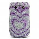 Purple/Silver Heart Hard Bling Case for BlackBerry Bold 9700