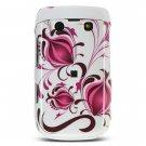 White/Pink Design Hard 2-Pc Design Faceplate Case for BlackBerry Bold 9700