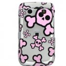 Silver/Pink Skulls Design Hard 2-Pc Snap On Faceplate Case for BlackBerry Bold 9700