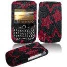 Black/Pink Stars Design Hard Gem Bling Case for BlackBerry Curve 8520