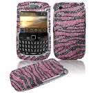 Pink/Black Stripes Design Hard Gem Bling Case for BlackBerry Curve 8520