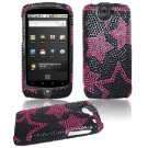 Black/Pink Stars Design Hard Gem Bling Case for Google Nexus One