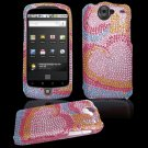 Colorful Hearts Design Hard Gem Bling Case for Google Nexus One