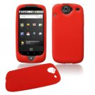 Soft Rubber Silicone Skin Cover Case for Google Nexus One - Red