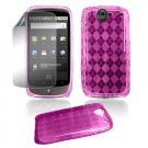 "Pink Hard ""Semi-Transparent"" Gel Argyle Design Cover for Google Nexus One"