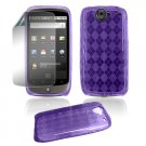 "Purple Hard ""Semi-Transparent"" Gel Argyle Design Cover for Google Nexus One"