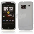 "White Hard 2-Pc ""Rubberize"" Snap On Faceplate Case for HTC Droid Incredible"